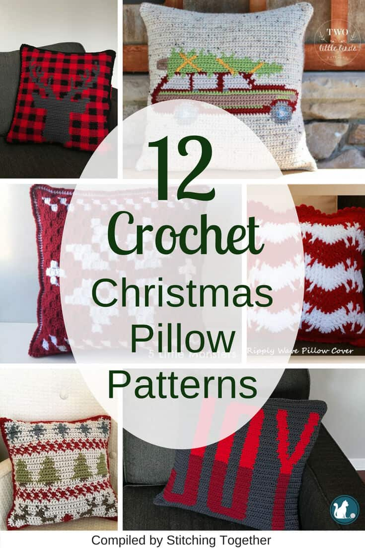 Pin collage of different christmas crochet pillows and cushions