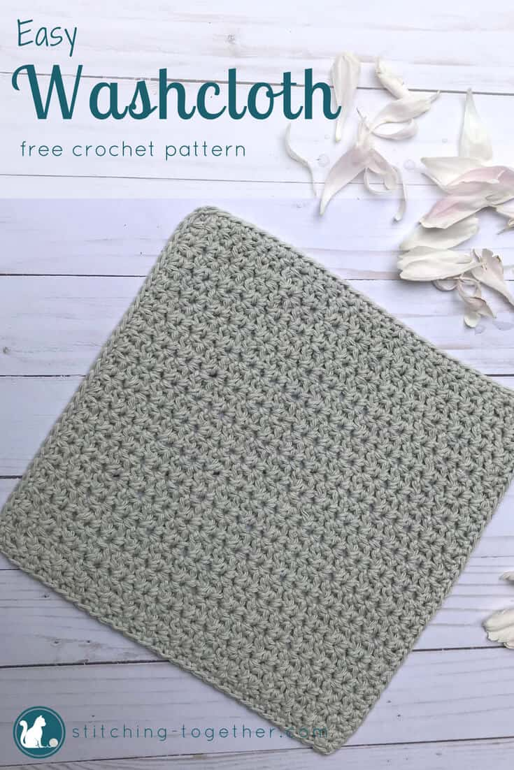easy crochet washcloth pattern pin image with washcloth laying flat