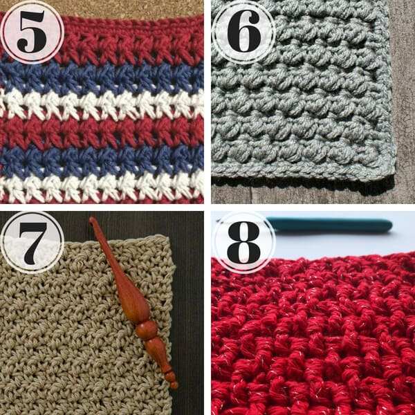 close up of four different crochet stitches with texture