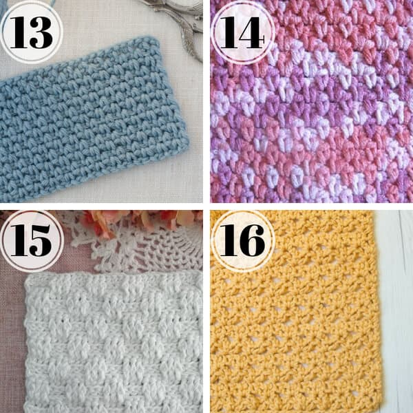 collage image of crochet stitches for dishcloths