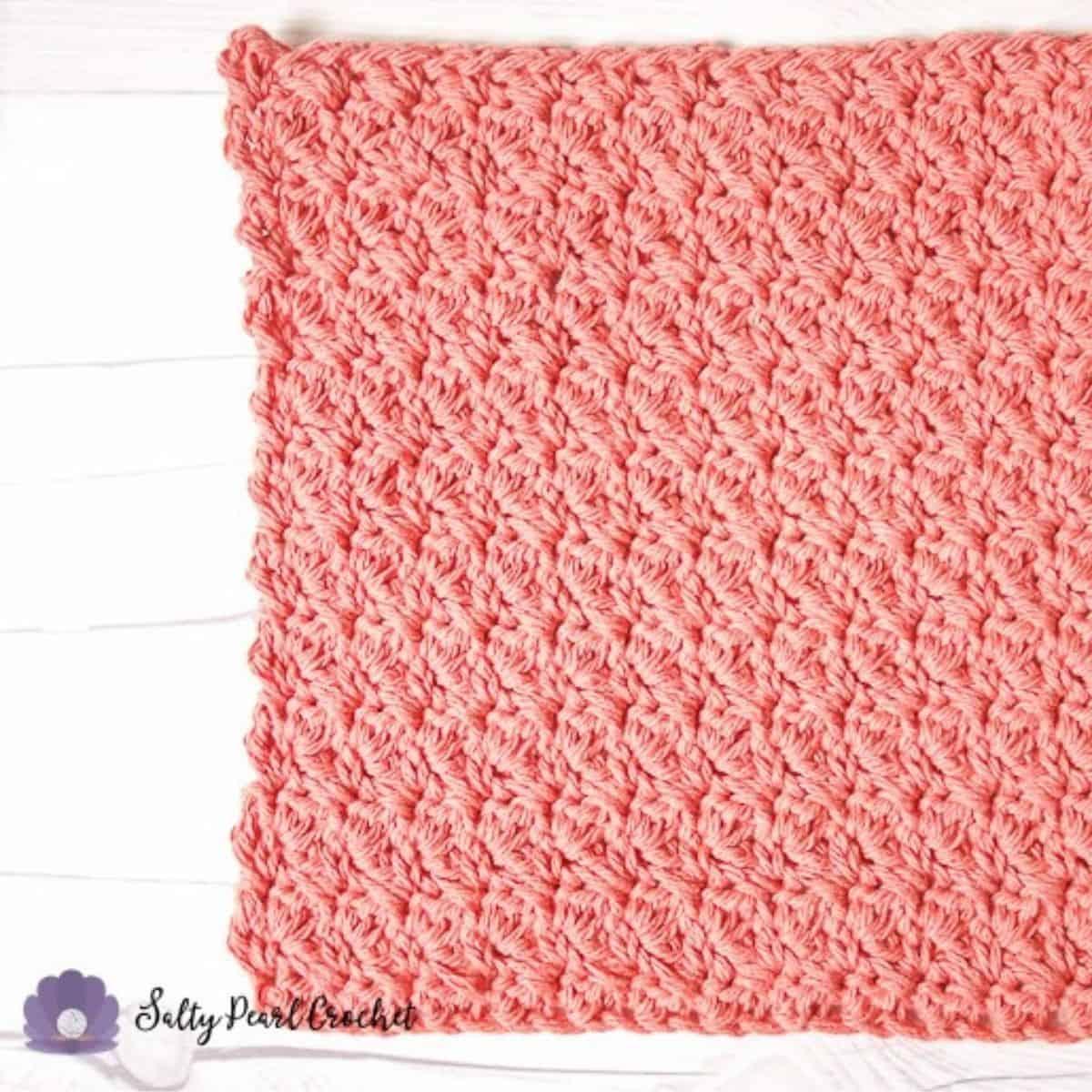 close up of a suzette stitch washcloth