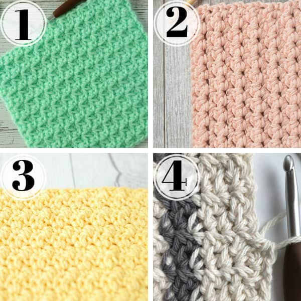 close up of 4 crochet stitches for dishcloths including the spider stitch