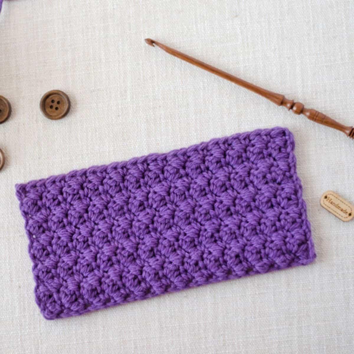 small swatch of crochet grit stitch