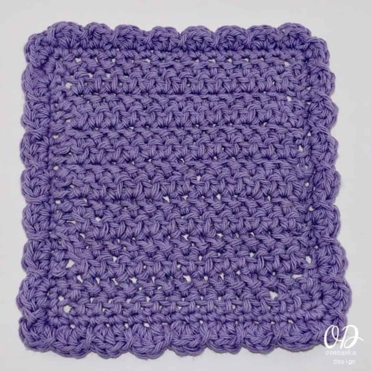 pretty purple dishcloth with a shell stitch border
