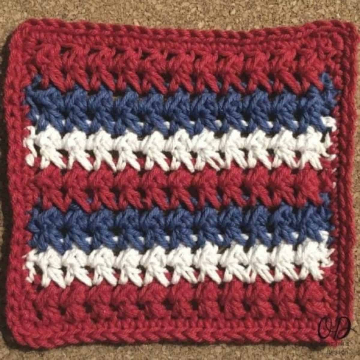 red white and blue striped square crochet swatch
