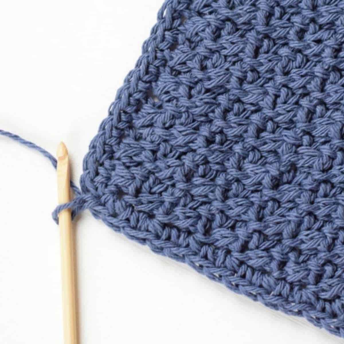 corner of a washcloth crocheted
