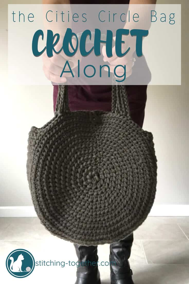 close up of crochet circle bag with CAL text overlay