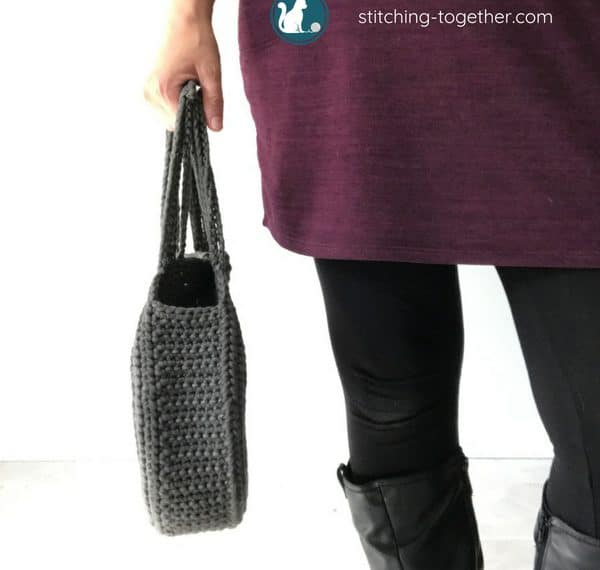 Side view of completed circle bag crochet pattern