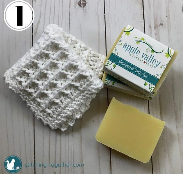 Crochet Waffle Stitch Dishcloth next to soap