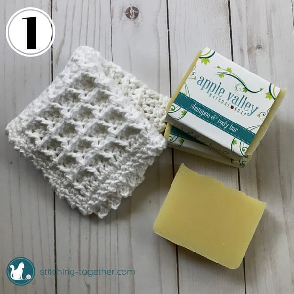 Crochet Waffle Stitch Dishcloth next to soap
