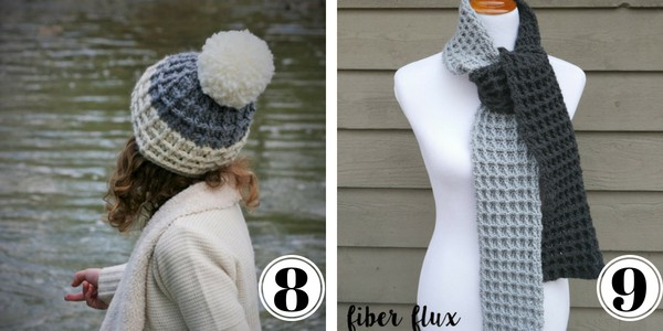 crochet waffle stitch hat and two colored scarf