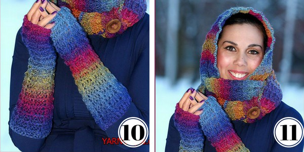 Crochet Waffle Stitch arm warmer and hooded cowl