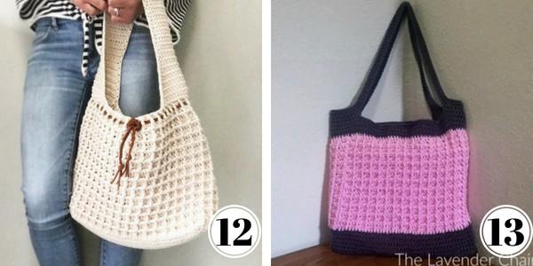 Crochet waffle stitch bags