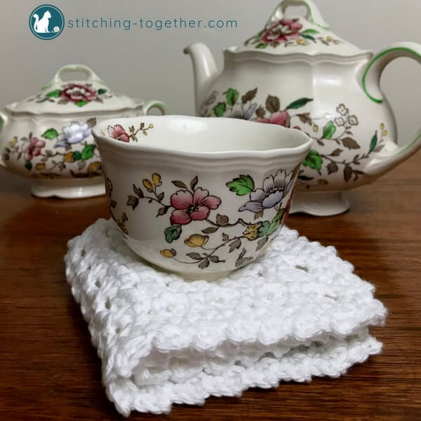 tea set with crochet waffle stitch dishcloth
