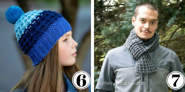 Waffle stitch hat and scarf