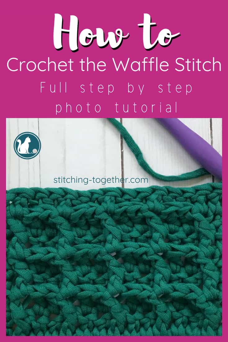 how to crochet the waffle stitch pin image