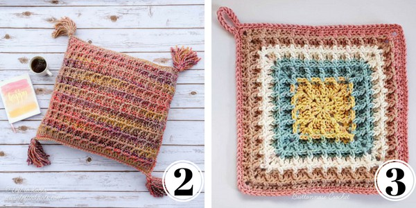 pillow and square crochet waffle stitch
