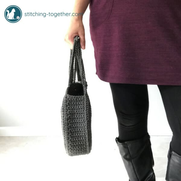 side view of crochet circle bag