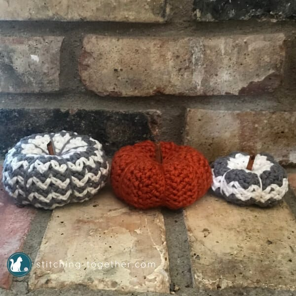 3 crochet pumpkins
