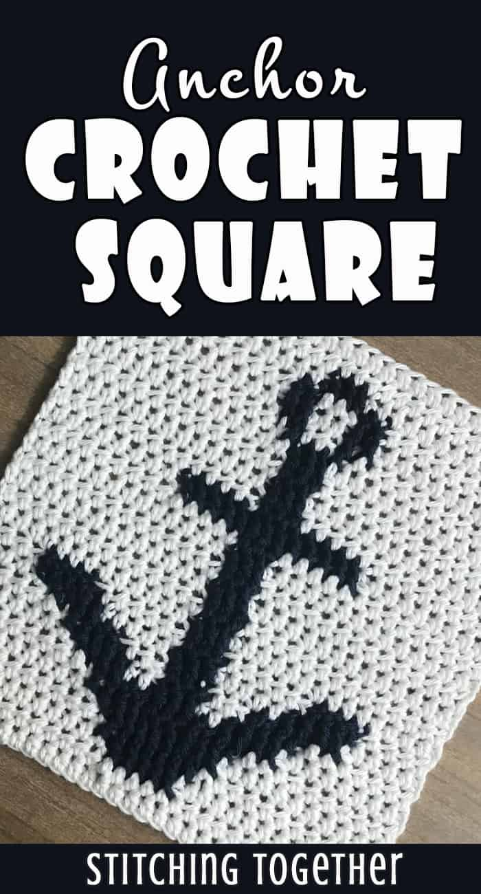 white crochet square with anchor motif pin image
