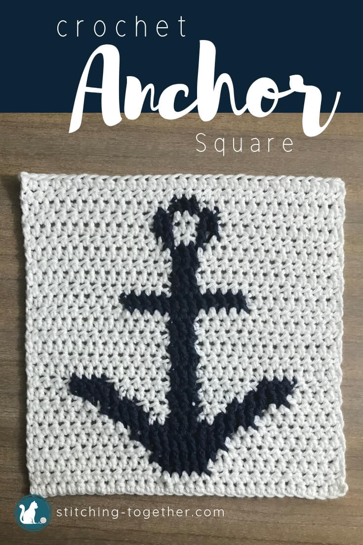 blue crochet anchor on a white square pin image with text overlay