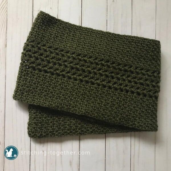 green Crochet Moss stitch scarf folded