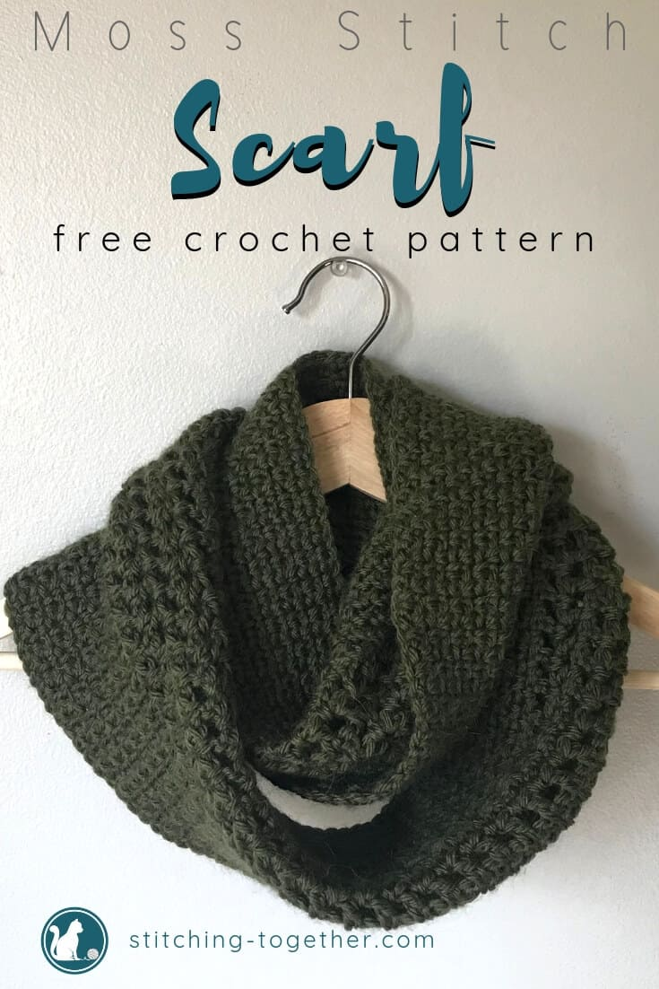 Crochet Moss Stitch Scarf Pin Image with text overlay