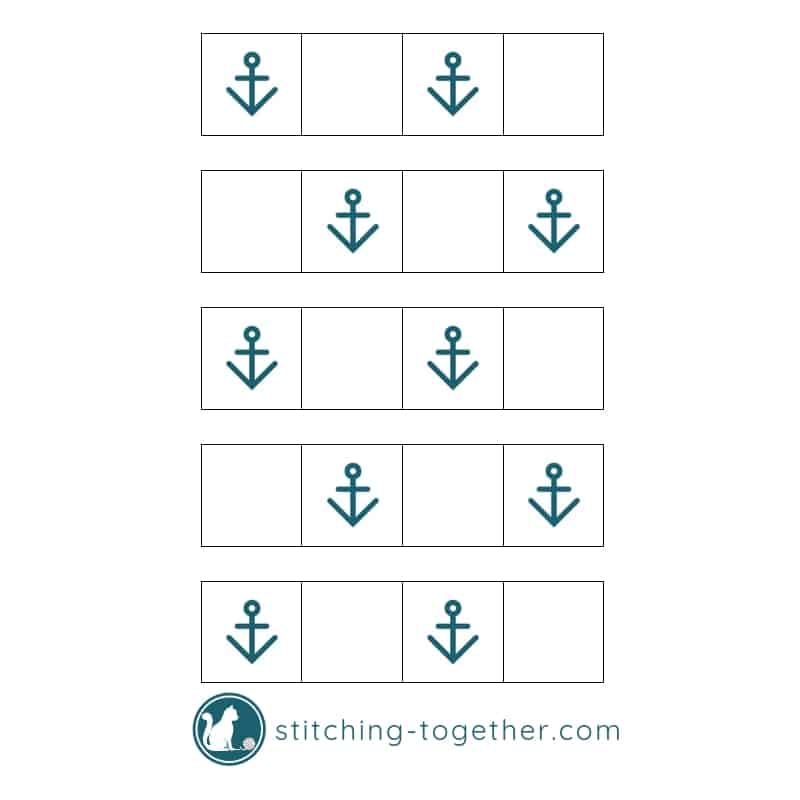 showing layout of crochet anchor squares