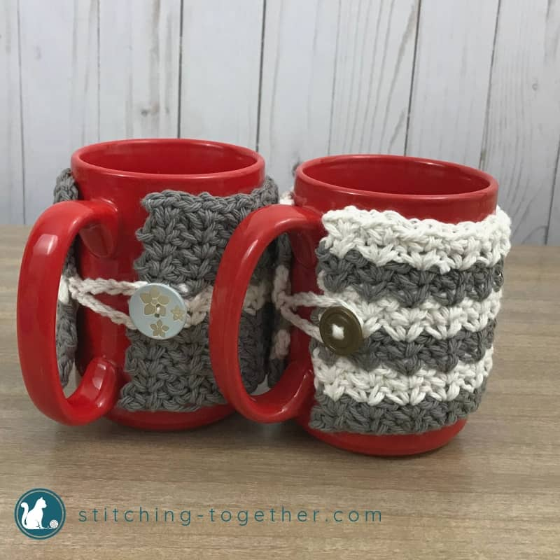 crochet mug cozies showing buttons