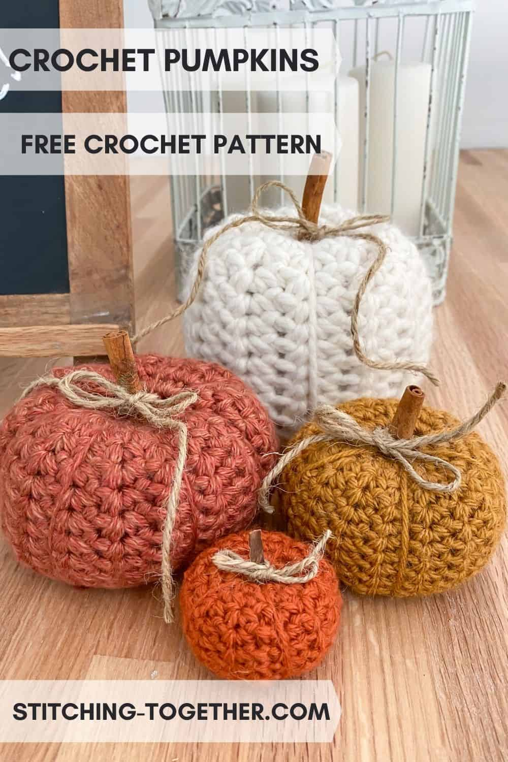 4 rustic crochet pumpkins with text on the image