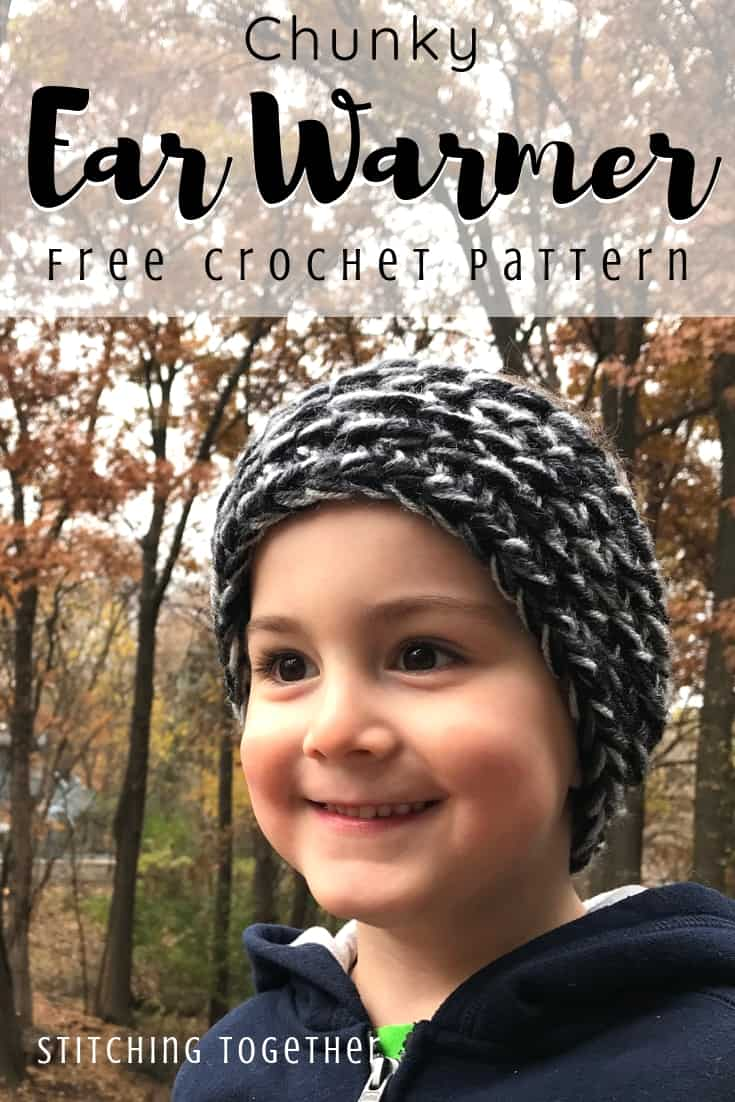 child wearing chunky crochet ear warmer pin image