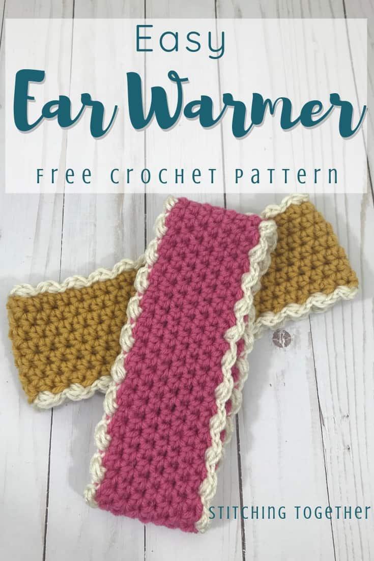 pink and gold crochet ear warmers pin image