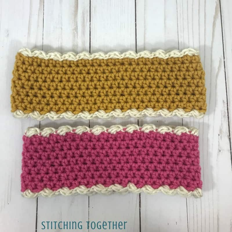 pink and yellow crochet headbands