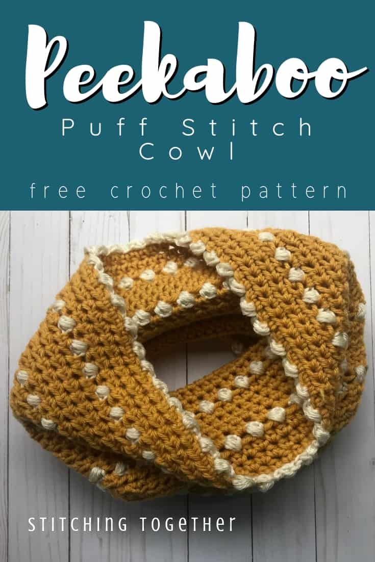 Peekaboo Puff Stitch Cowl Pin image with text overlay