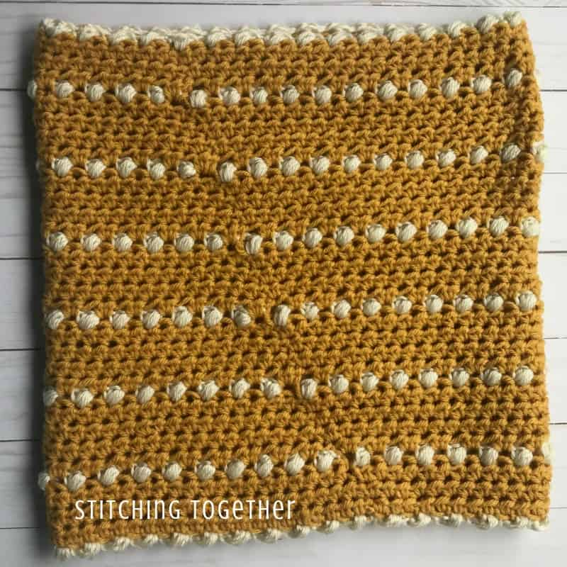 Crochet cowl in the round showing seam