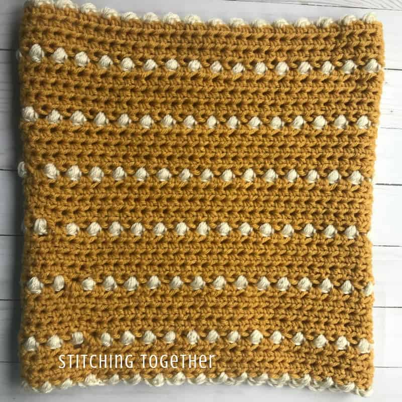 Mustard crochet Cowl inside out