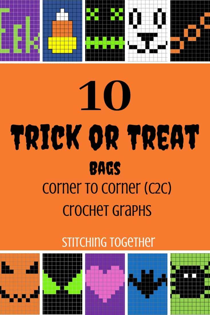 10 Trick or Treat bag crochet graphs pin image