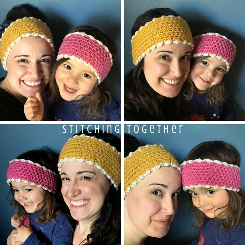 mom and daughter wearing matching crochet ear warmer