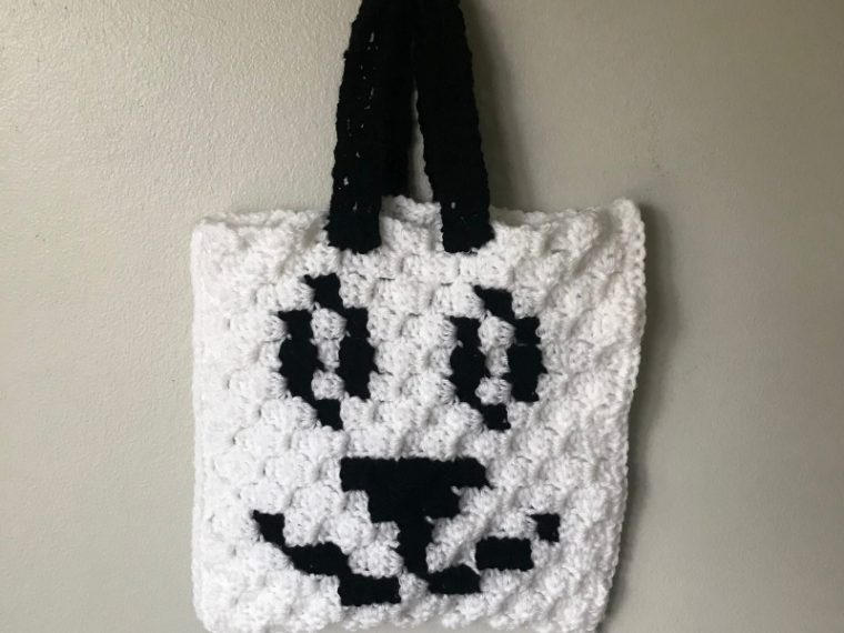 crochet bag with panda bear face