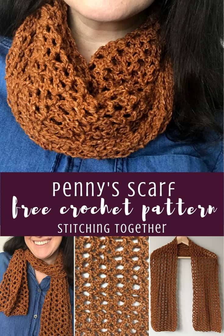 Pin image with text overlay for the Penny crochet scarf