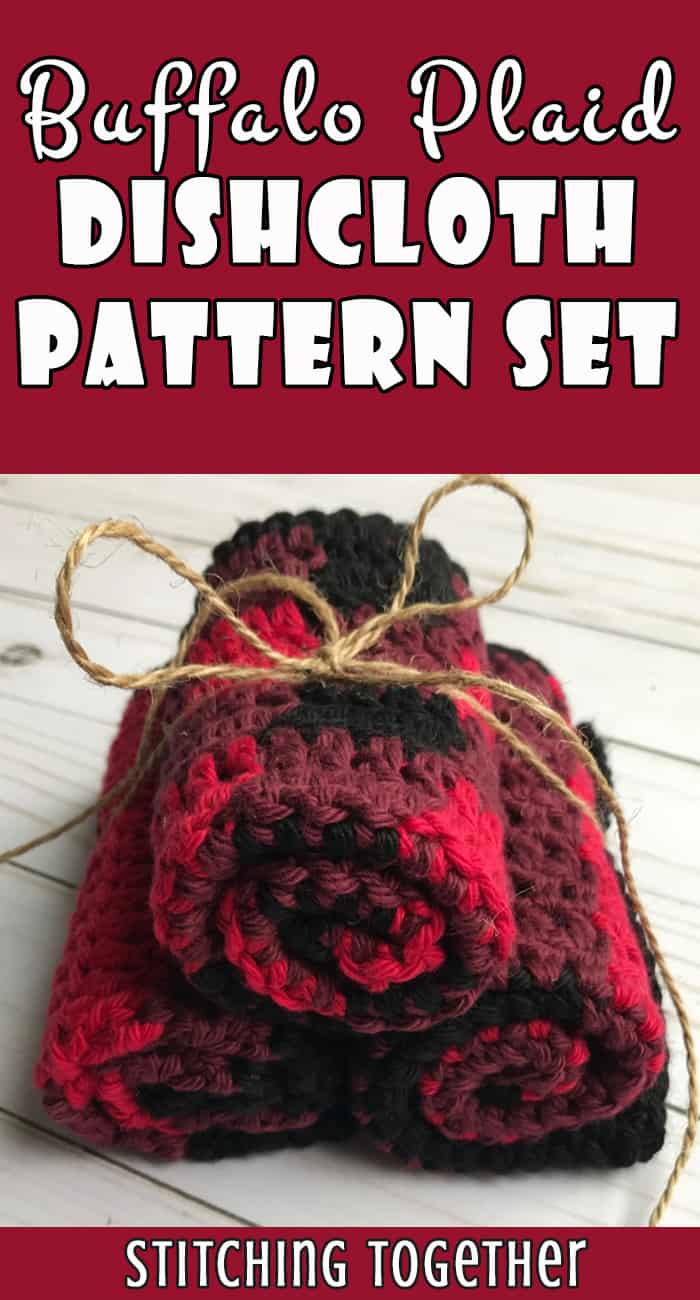 three rolled buffalo plaid crochet dishcloths tied with jute