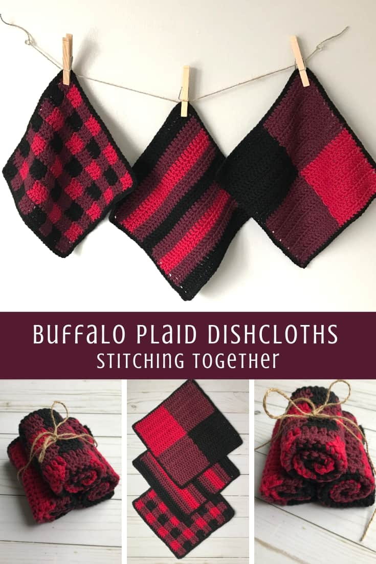 collage image showing buffalo plaid crochet dishcloths