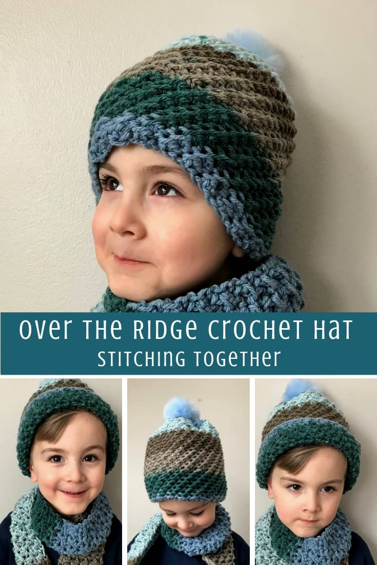 collage image of boy wearing crochet hat