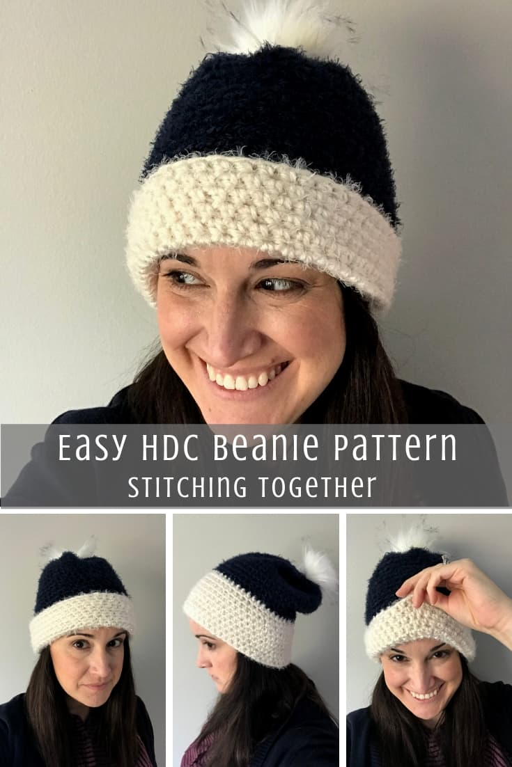 Half Double Crochet Beanie Pattern Pin image with collage of 4 images of lady wearing hat