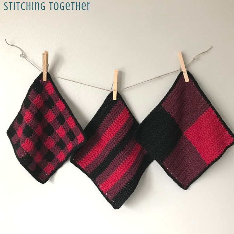 buffalo plaid crochet dishcloths hanging