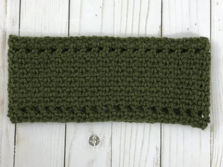 green moss stitch ear warmer