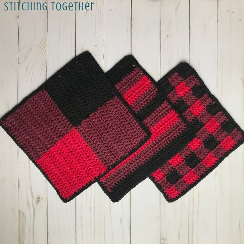 three crochet dishcloths in buffalo plaid, buffalo check, and stripes