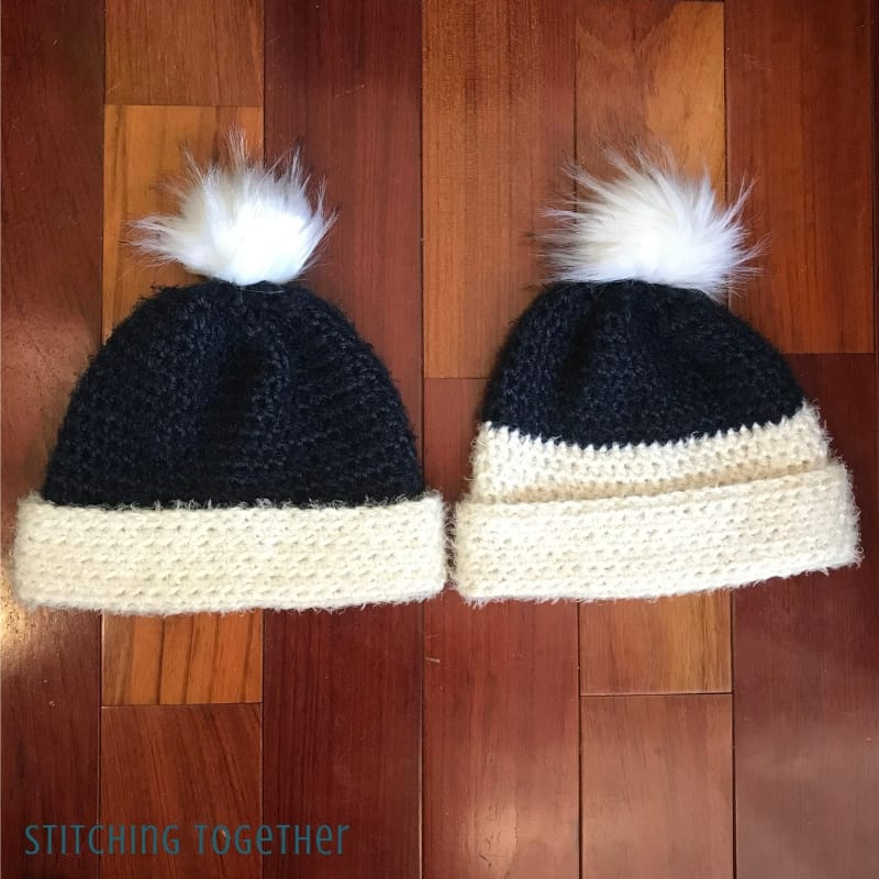 2 half double crochet beanies with brims folded up