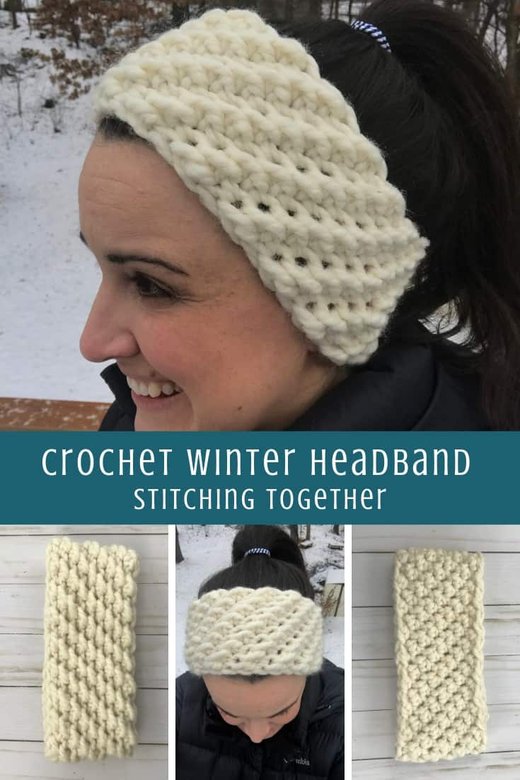 crochet winter headband pattern pin image collage