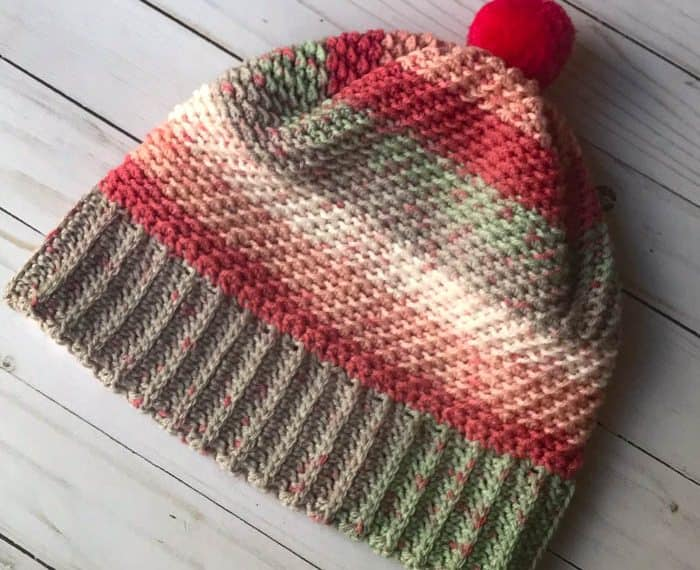 striped crochet hat with brim
